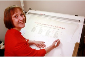 National Vellum Patrica Lovett from Sevenoaks works with Vellum,she is leading a national campaign to keep it used as the official material for acts of Parliment. TWPL20160126A-007_C.JPG