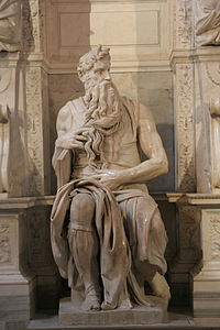 Michelangelo's Moses, with tablets and horns