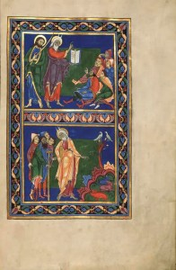 Miniature from the Bury Bible showing Moses