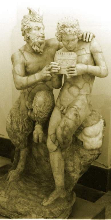 Statue of Pan, with horns, and Daphnis