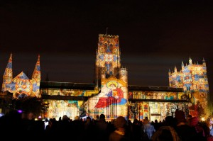 Durham Cathedral is illuminated as the Lumiere Festival opened in Durham City, UK, on 17 November 2011. The biennial festival of light, which runs until 20 November, features works by 30 international and British artists. Ross Ashton's Crown of Light installation seen projected onto the cathedral.