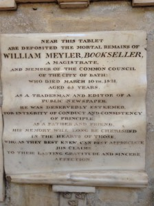 Memorial in Bath Abbey