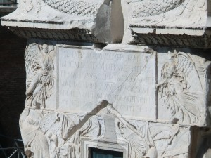 Lettering at the base of Trajan's Column